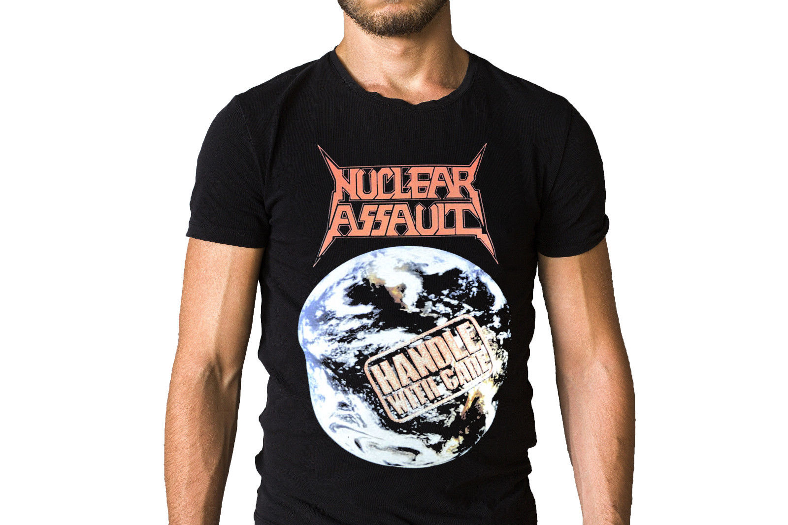 Nuclear Assault Handle with Care 1989 Earth Album Cover T-Shirt Short Sleeve T Shirt Free Shipping Tops Tees Printed Men