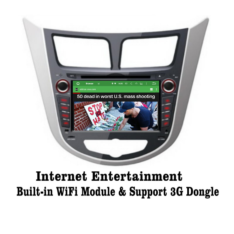 Android 5.1 9inch For Hyundai Accent / Solaris / Verna Car Radio GPS Audio Video Multimedia Player WiIFi DVR SWC Navigation