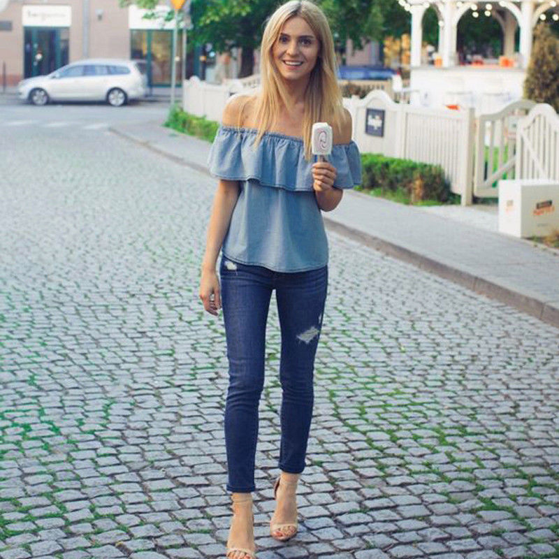 New Sexy Summer Off -Shoulder Denim Tops Fashion Ladies Ruffles Denim Shirt Hot Sale Loose Party Casual Blue Jeans Blouse