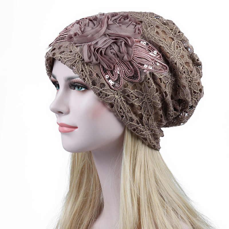 242771da453 ... Fashion Turban Hats For Women Lace Hollw Beanie Cap Winter Knitted  Skullies Caps New Flower Female ...