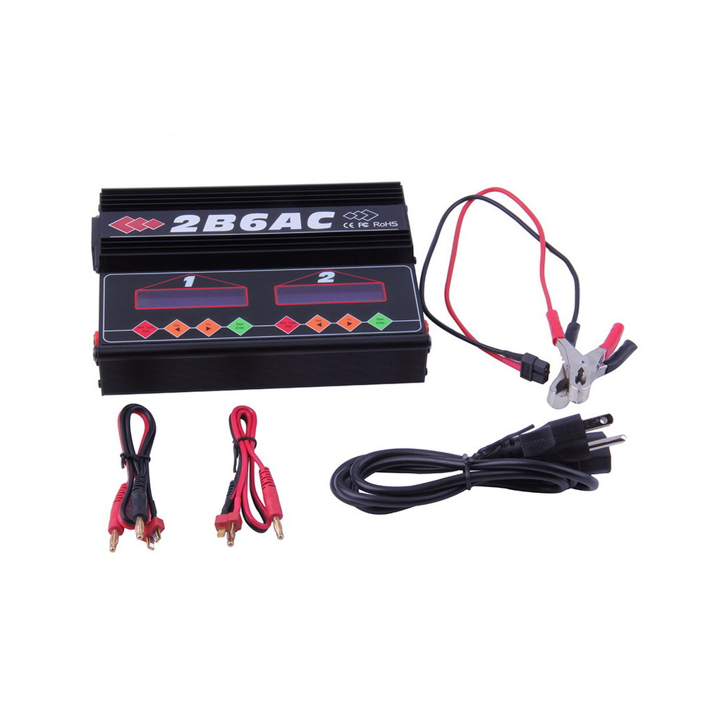 ФОТО Free shipping 2B6AC Multifunctional Balance Charger simultaneously charge two lithium batteries B6AC * 2 NiMH batteries  For RC