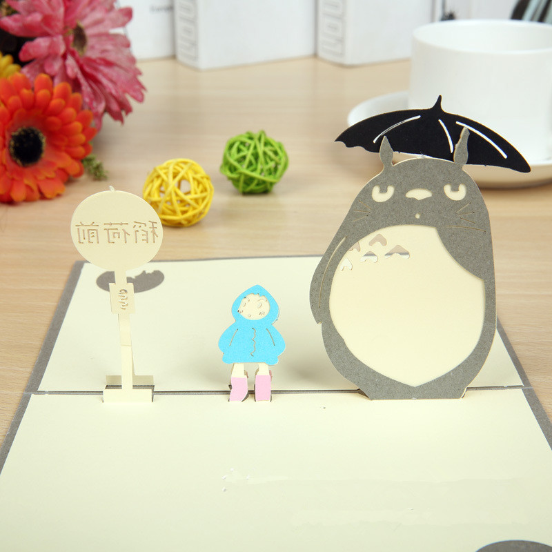 3d Laser Cut Pop Up Paper Anime Totoro Holiday Handmade Happy