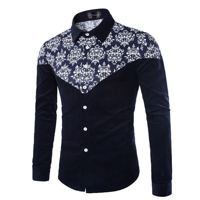 Nice Men Printed Shirt Long Sleeve Slim Fit Floral Painted Blouse Shirts Casual Dress Shirt Plus Size M-5XL Camisas Masculinas