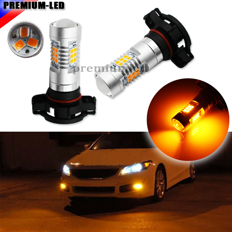 2pcs High Power Amber Yellow Samsung LED 2835-SMD  5202 H16  PSX24W LED Bulbs For Fog Lights or Daytime Running Lights 2pcs high power samsung 2835 smd h7 led bulbs for hyundai genesis sonata veloster accent on high beam daytime running lights