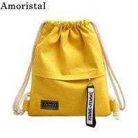 Мешки Drawstring холст модные растяжки простой Для женщин Спорт Студент Девушки тренажерный зал пакет рюкзак мешок карман большой новый SY131