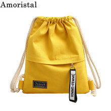 Drawstring Bags Canvas Fashion Streamers Simple Women Sports Student Girls Gym Pack Rucksack Pouch Pocket Shopping Big New SY131
