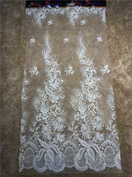 High french lace fabric purple beaded Nigerian embroidery lace with beads African lace for party dress