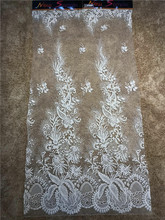 High  french lace fabric purple beaded Nigerian embroidery with beads African for party dress