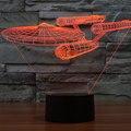 3D Ilusão Dirigível Glowing LED Toque Mesa 7-Color Night Light Table Lamp