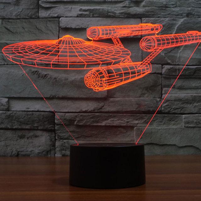 Ilusión 3D Dirigible Que Brilla Intensamente LED Táctil Escritorio 7-Color de la Luz de Noche Lámpara de Mesa