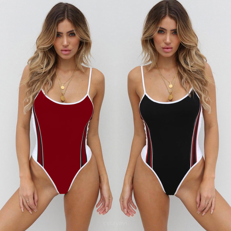 Women Swimwear 2018 Sexy Striped Printed One Piece Swimsuit Female Strap Halter Swim Wear Sprot Push Up Bathing Suits 3417 chic halter printed colorful three piece swimsuit for women