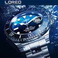 Новые мужские автоматические часы LOREO с классическим синим циферблатом из нержавеющей стали 200 м водонепроницаемые механические часы