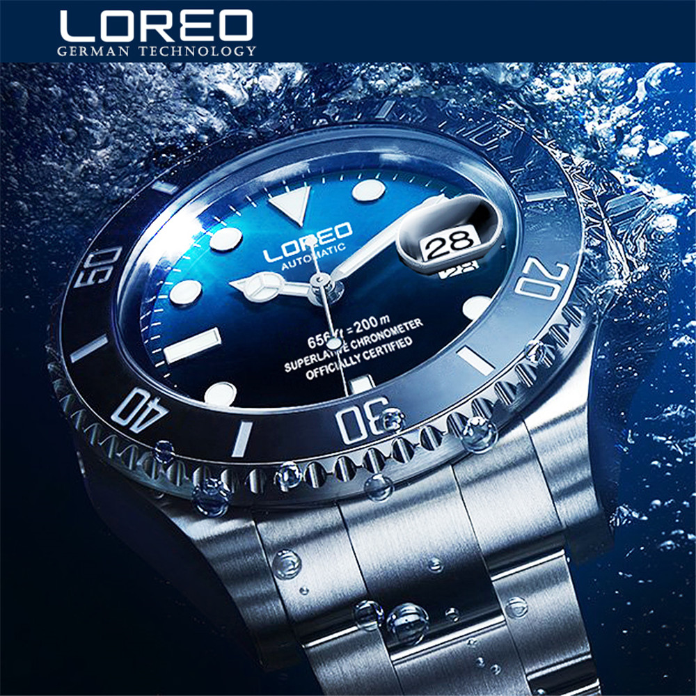 Baru LOREO Water Ghost Series Classic Blue Dial Lelaki mewah automatik Jam Tangan Stainless Steel 200m Waterproof Mechanical Mekanikal