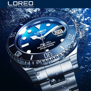 Image 1 - New LOREO Water Ghost Series Classic Blue Dial Luxury Men Automatic Watches Stainless Steel 200m Waterproof Mechanical Watch