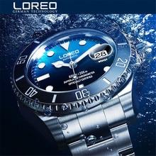 Nieuwe LOREO Water Ghost Serie Klassieke Blauwe Wijzerplaat Luxe Mannen Automatische Horloges Rvs 200m Waterdichte Mechanische Horloge