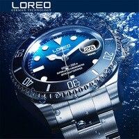 Nueva LOREO Agua Serie Fantasma Azul Clásico Dial de Lujo Automático de Los Hombres Relojes de Acero Inoxidable 200 m Impermeable Reloj Mecánico
