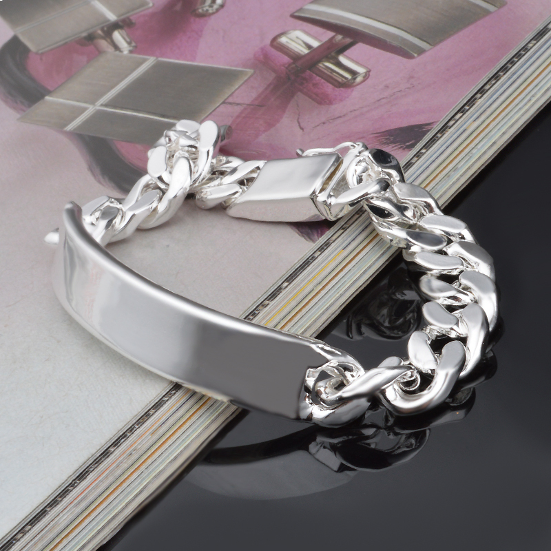 10MM Chain Bracelets for Men Wholesale Silver Plated Bracelets Bangles Fashion Silver Jewelry Silver Bracelets Jewelry Gifts
