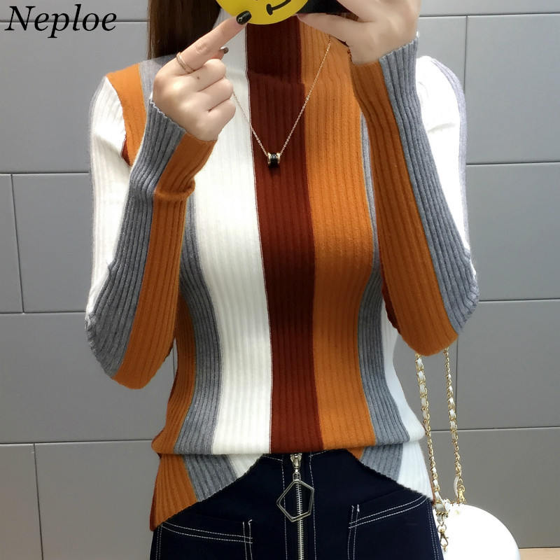 Neploe Rainbow Stripe Sweater Contrast Knitted Pullover 2019 Long Sleeve Turtleneck Knitwear Fashion Slim Women Jumper 34381(China)