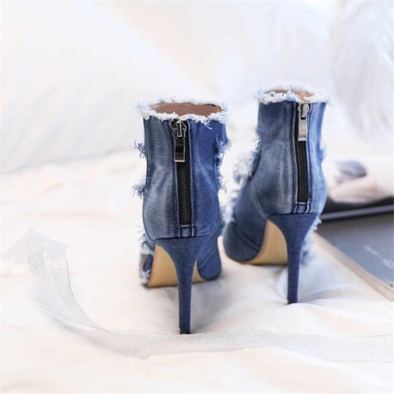 Yeni yaz ayakkabı yarım çizmeler kadınlar için kovboy Mavi kot denim yüksek topuklu seksi peep-toe gözyaşı sandalet oymak bayanlar artı boyutu