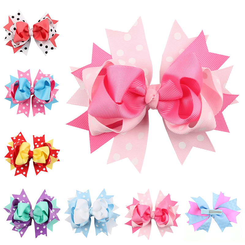 5 Inch Big Hair Bow Girls dot butterfly Ribbon rainbowHair Bows With Clip Boutique HairClip Hairpin headwear Hair Accessories cheap 1pcs women headwear scissors comb hair clip hair accessories headpiece hairpin headwear gold silver color drop shipping