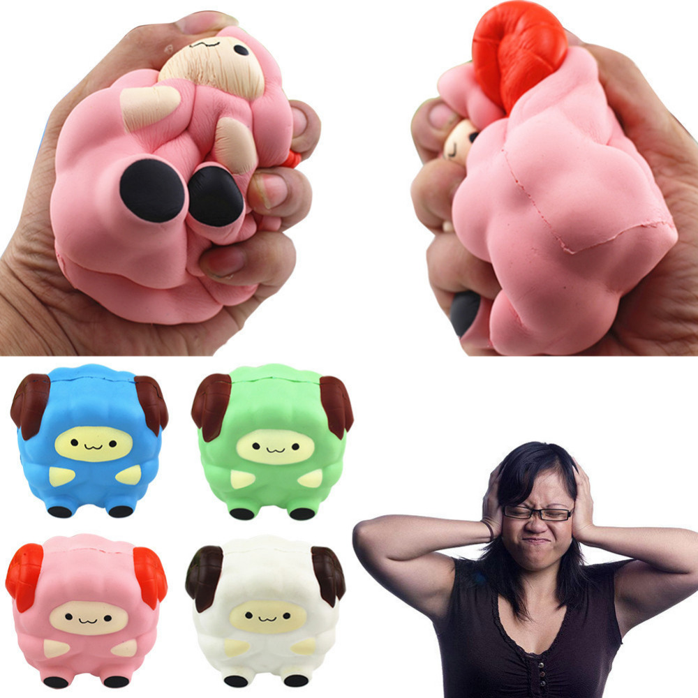 Squishy Squeeze Slow Rising Simulation Cake Bread PU Ornaments Fun Sheep Shaped Relieve Stress Relief Healing Toy