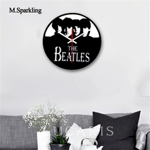 M.Sparkling mute wall clock antique style The Beatles zebra crossing digital creative home decor