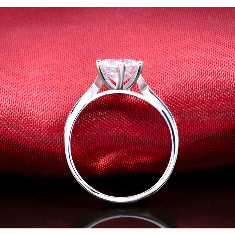 Nyata Asli 925 Sterling Silver Rings Putaran Cut Wedding Rings Untuk - Perhiasan fashion - Foto 6
