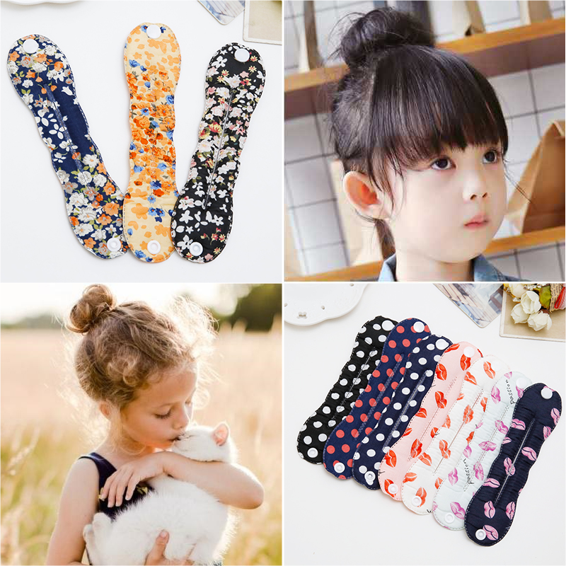 TINSAI 1 Pcs Fashion Printing Girls Magic Tools Foam Sponge Messy Donut Bun Hair Style Headwear Hair Accessories Gift купить
