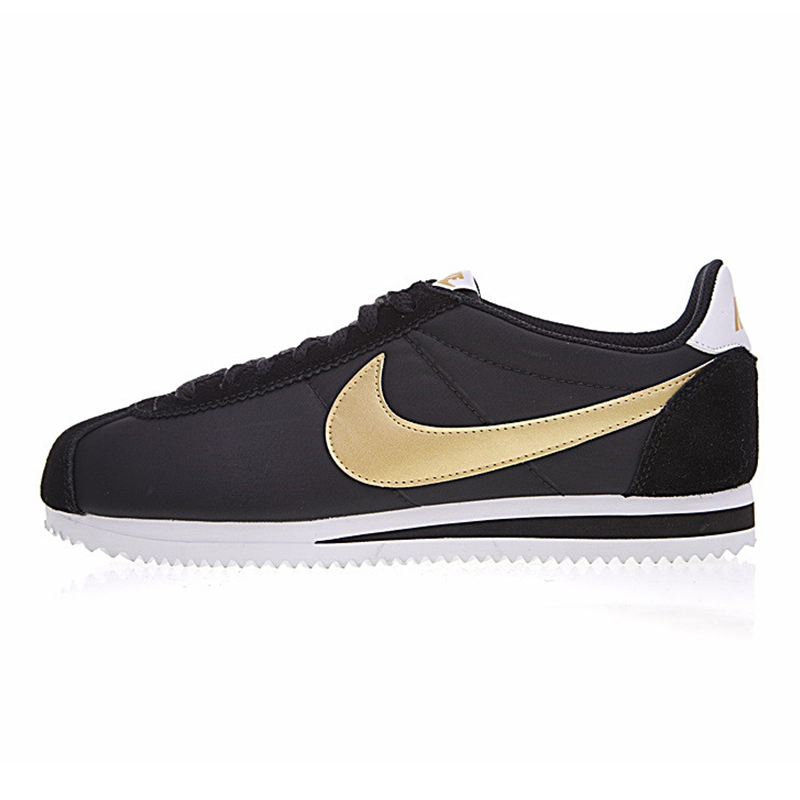 reputable site 674f8 a9c68 Original NIKE CLASSIC CORTEZ NYLON Men s Running Shoes Outdoor Sneakers  Shoes Black   Gold Lightweight Breathable Low-top