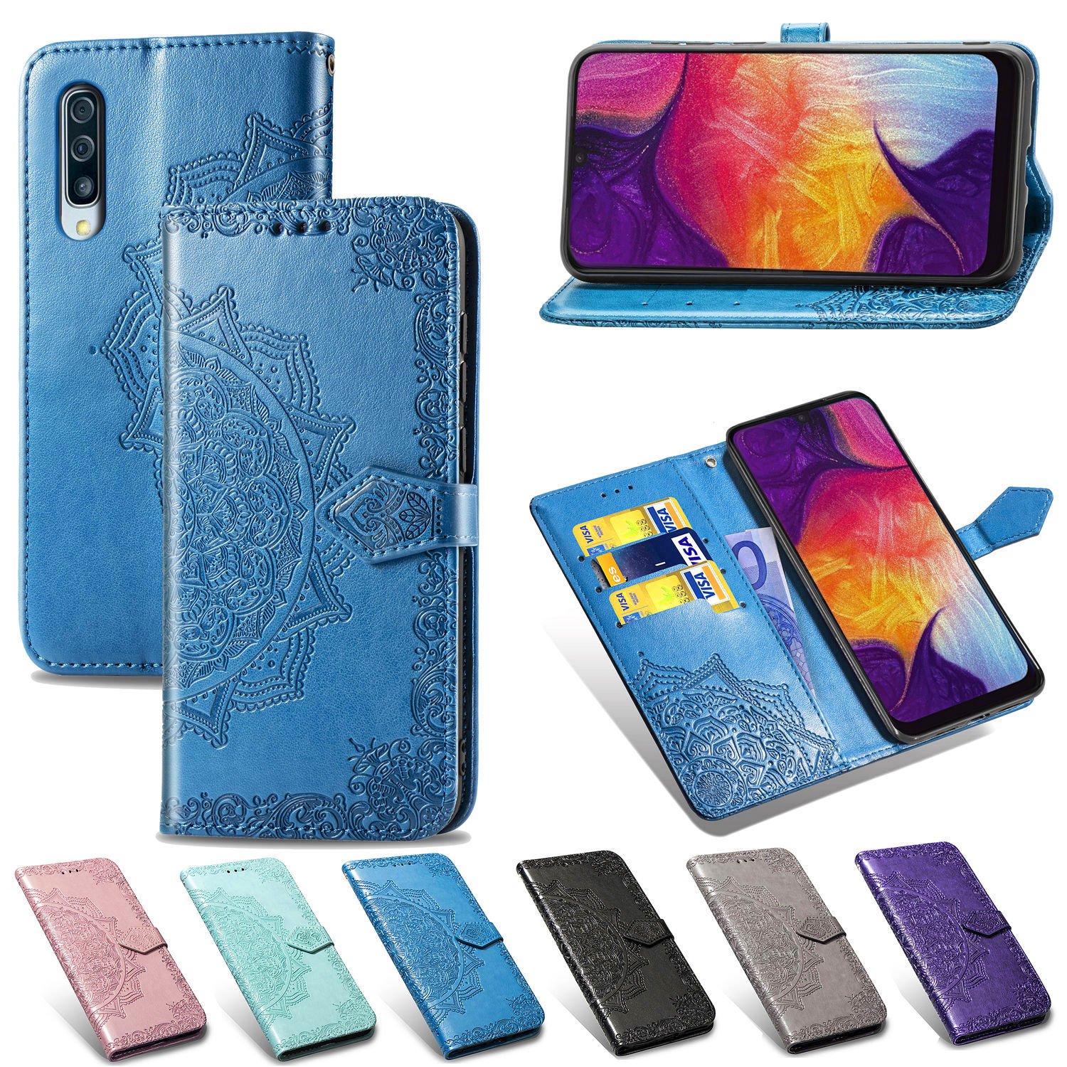 Flip Wallet Case For Samsung Galaxy A10 A30 A40 A50 A70 Leather Flip Phone Cover