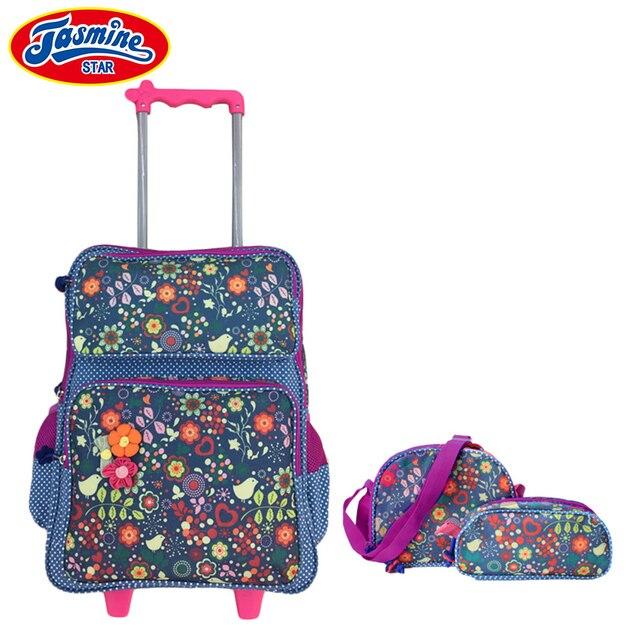 d651184baa1 Jasminestar 3 unids Niñas mochila escolar mochila Trolley con ruedas  estudiante Niñas Grado 1-3