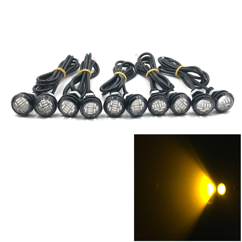 CYAN SOIL BAY 10pcs 12 LED SMD 12SMD DC 12V 15W 23mm Eagle Eye LED Daytime Running DRL Backup Light Car Auto Lamp Yellow Amber ...