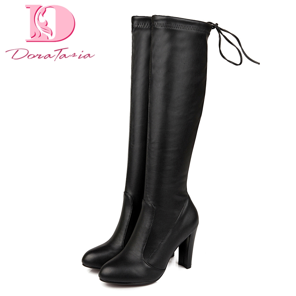 Doratasia Brand new Large Size 34-43 High Heels Knee High Boots Women Shoes Slip On Autumn Winter Boots Shoes Woman party boot все цены