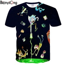 BIANYILONG 2018 new Rick and Morty 3D Print t shirt Men Wome