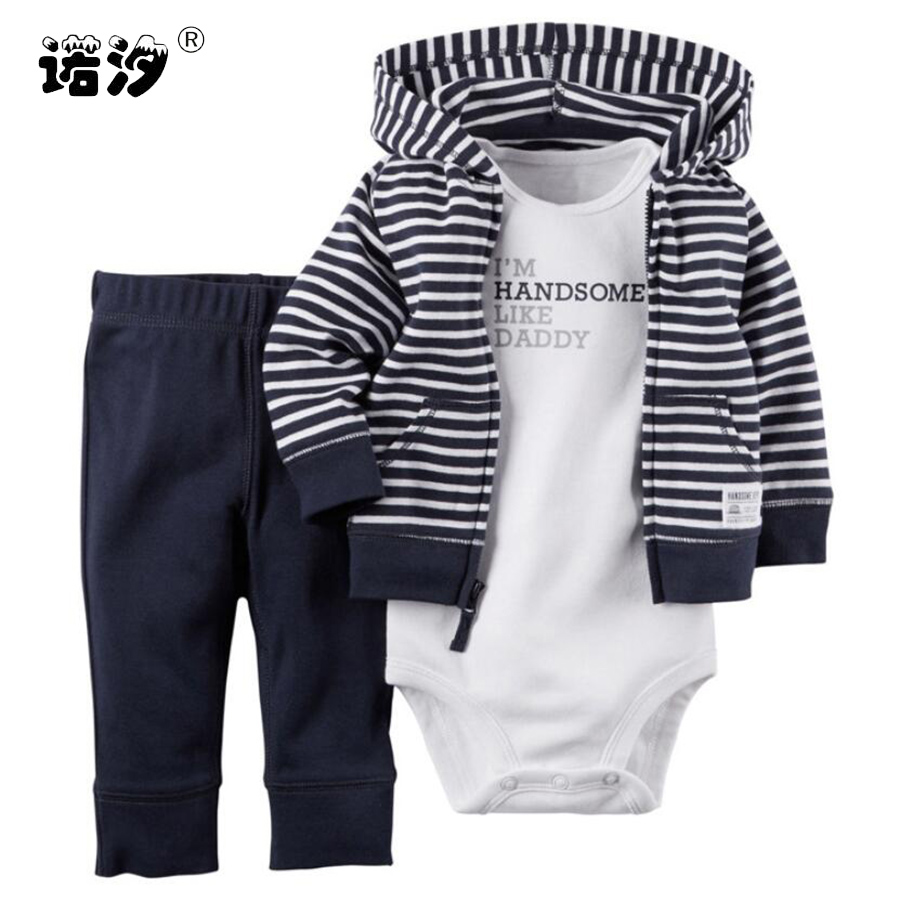 Baby boys girls clothes set bebes cotton hooded cardigan+trousers+body 3 pieces set newborn clothing infant bodysuit outwear set