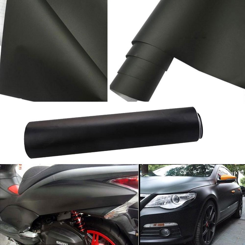 Vehemo 10/20/30/40/50/60x152 CM DIY Car Styling Automobile Matte Black Premium Car Wrap Not blistering Sticker Durable ...