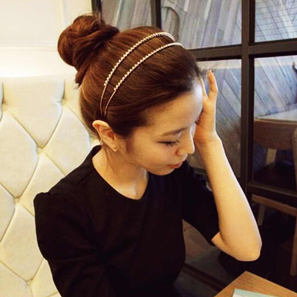 2019 New Korean Double Rhinestone Pearl Hair Accessories Headband Exquisite Crystal Headband Shiny Metal Hairband Hair Hoop