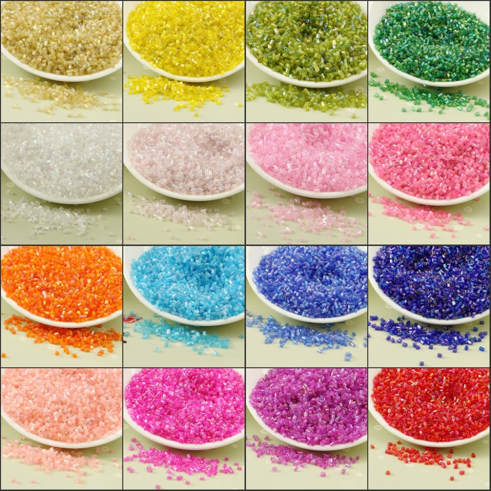 20g/1440pcs 2mm AB Transparent Glass Beads Bugle Tubes DIY Beaded Material Handmade Neckline Cross Stitch Embroidery Accessories
