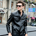 Fashion Leather Jacket Men Stand Collar Casual Parka Bomber Motorcycle Jackets Coats Jaqueta de couro masculina Male Plus Size