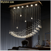 Modern Fashion Luxurious 50 60 80 Crystal Led Pendant Lamp Parlor Hotel Entrance Restaurant Foyer Chandelier