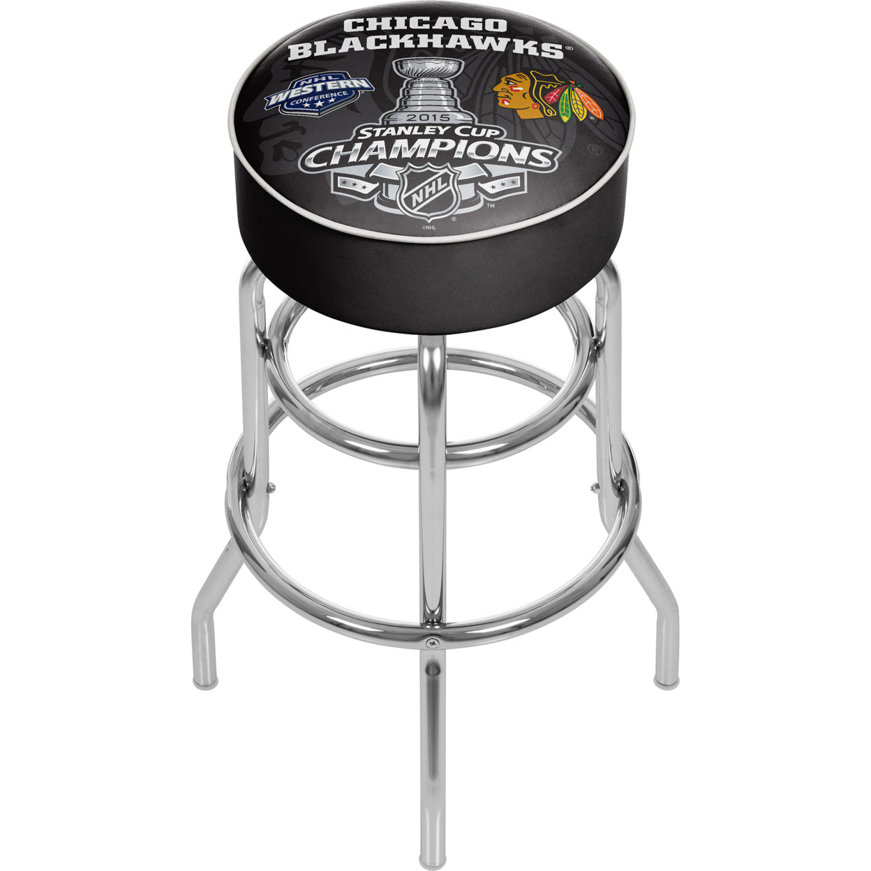 Chicago Blackhawks Swivel Bar Stool - 2015 Stanley Cup Champs