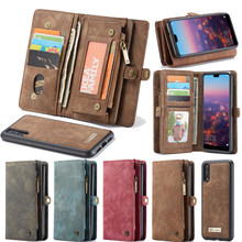 Original CaseMe Wallet Case For Huawei P20 Lite Genuine Leather Case For Huawei P20/ Pro Vintage Magnetic Detachable Back Cover(China)