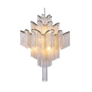 Image 2 - Moderne Luxe Zilver Goud Aluminium keten omzoomd Hanger Lamp Luxe Trap Hanger Opknoping Licht voor Thuis Hotel Decoratie