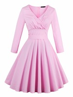 Factory Direct Wholesale Sisjuly Vintage Dress Solid Pink Spring Dress Knee High A Line Dress For