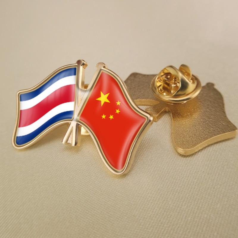 Costa rica e china cruzou/duplo/amizade bandeiras lapela pinos/broche/emblemas