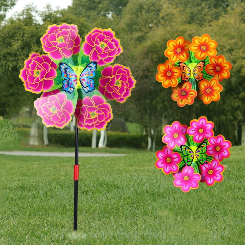 1x Peacock Windmill Pinwheel Wind Spinner Kids Toy Lawn Garden Party Rosy