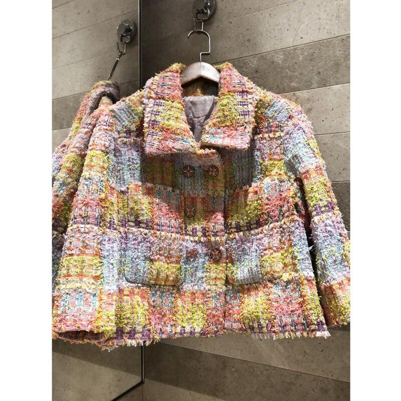 High quality retro tweed jacket long sleeve Color check tweed weave Loose short coat women s
