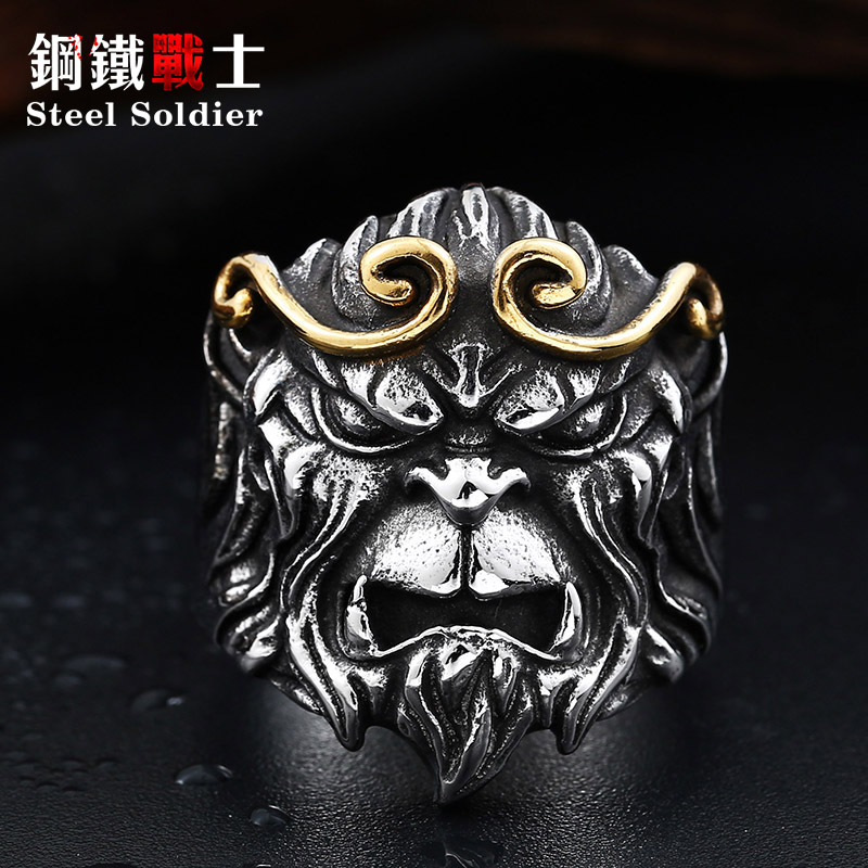 Wedding & Engagement Jewelry Engagement Rings Vintage Silver New Design Tv Play Journey To The West Style Ring Personality Monkey King Jewelry Zinc Alloy Men Jewelry