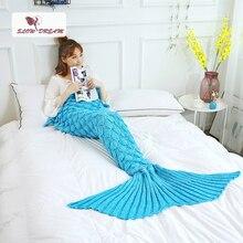 Slowdream Lake Blue Fish Scale Knitted Mermaid Blanket Soft Bed Sofa Sleeping Bag For Adult Kids Child Birthday Gift All Seasons недорго, оригинальная цена