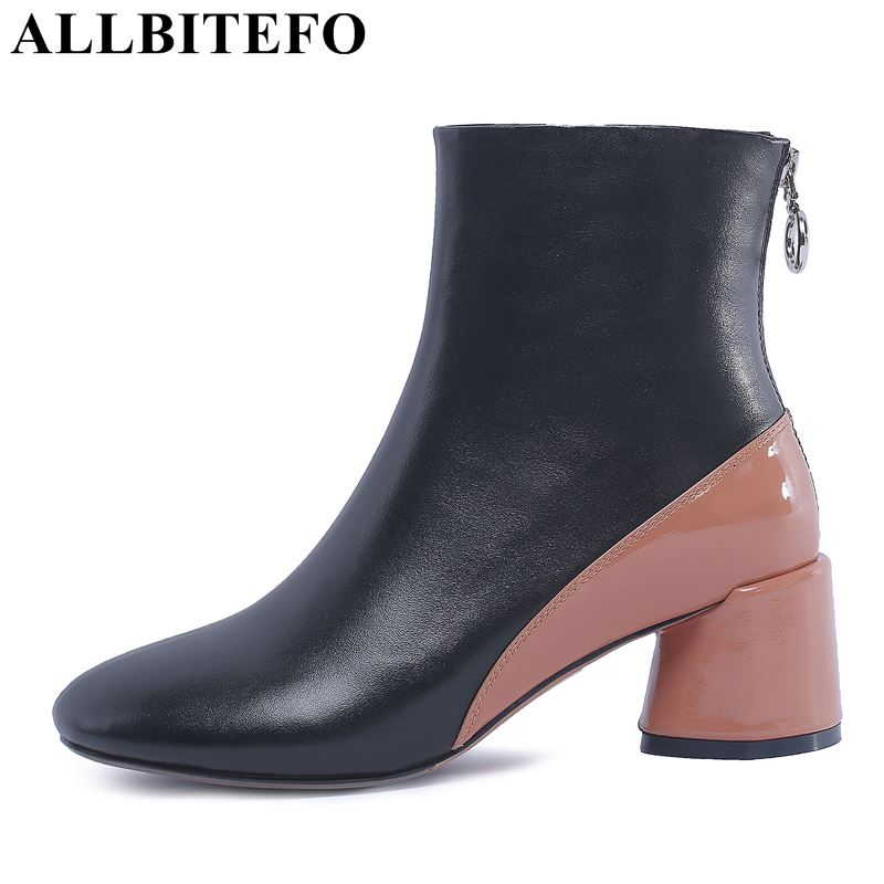 ALLBITEFO brand natural genuine leather women boots Medium height ankle boots fashion Autumn Winter girls motorcycle boots shoes allbitefo natural genuine leather snake texture cow leather women ankle boots fashion sexy motorcycle boots girls winter shoes